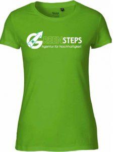 Grünes T-Shirt mit Greensteps-Aufdruck